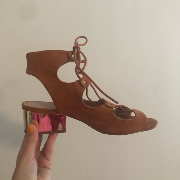 Topshop Shoes - Topshop Brown Lace Up Sandals Size 8